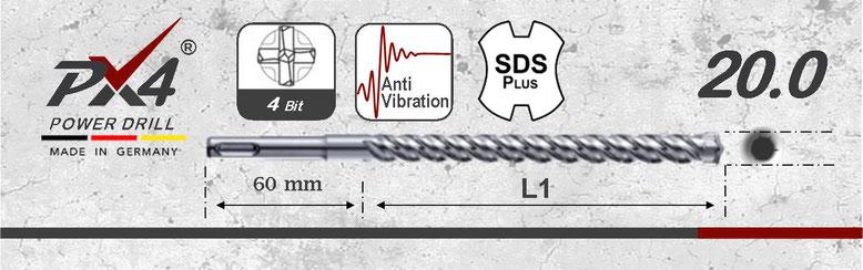 Prodito PX4 betonboor / hamerboor / klopboor met 4 snijder 20mm  SDSplus opname