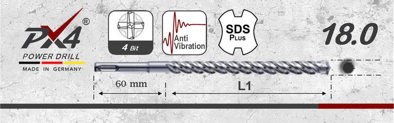 Prodito PX4 betonboor / hamerboor / klopboor met 4 snijder 18mm  SDSplus opname