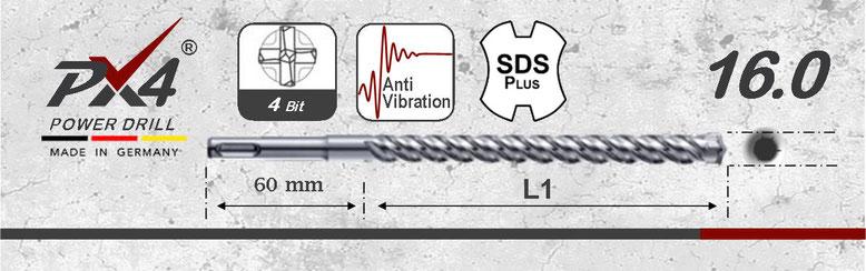 Prodito PX4 betonboor / hamerboor / klopboor met 4 snijder 16mm  SDSplus opname
