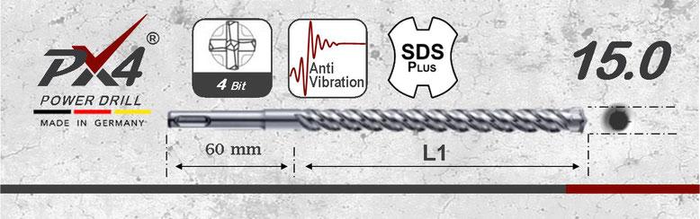 Prodito PX4 betonboor / hamerboor / klopboor met 4 snijder 15mm  SDSplus opname