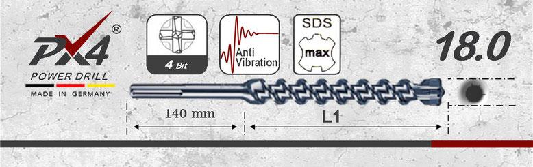 Prodito PX4 hamerboor / klopboor met 4 snijder 18mm  SDSmax opname