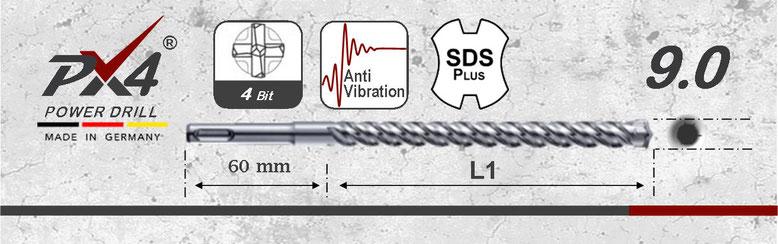 Prodito PX4 betonboor / hamerboor / klopboor met 4 snijder 9mm  SDSplus opname
