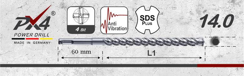 Prodito PX4 betonboor / hamerboor / klopboor met 4 snijder 14mm  SDSplus opname