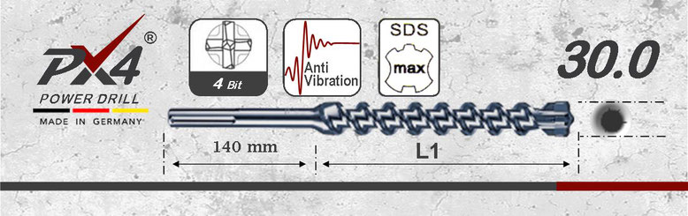 Prodito PX4 hamerboor / klopboor met 4 snijder 30mm  SDSmax opname