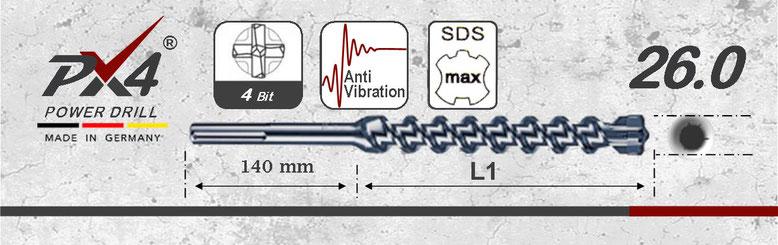 Prodito PX4 hamerboor / klopboor met 4 snijder 26mm  SDSmax opname