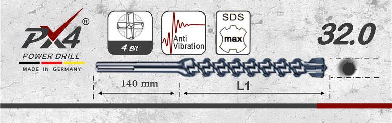 Prodito PX4 hamerboor / klopboor met 4 snijder 32mm  SDSmax opname