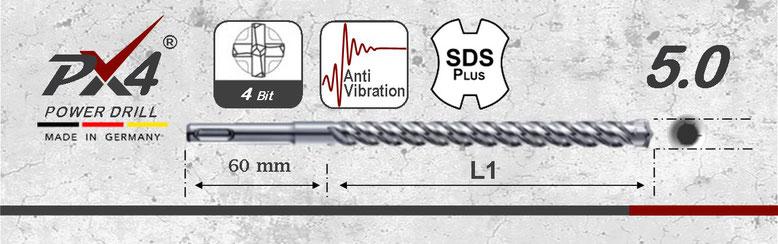 Prodito PX4 hamerboor / klopboor met 4 snijder 5mm  SDSplus opname