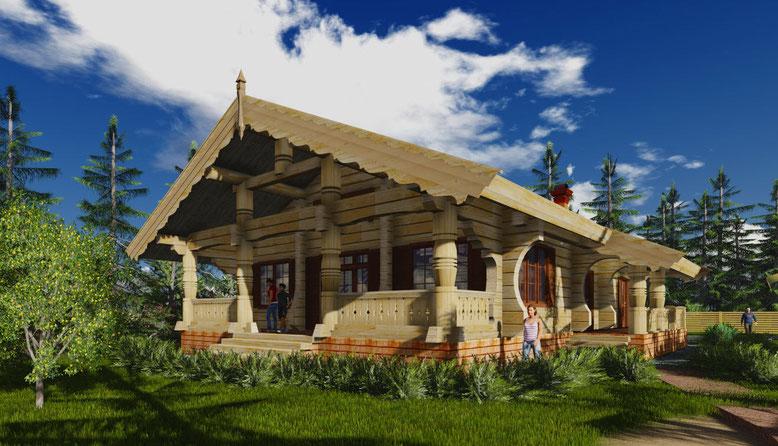 дом из лафета,норвежский дом, дом из кедра