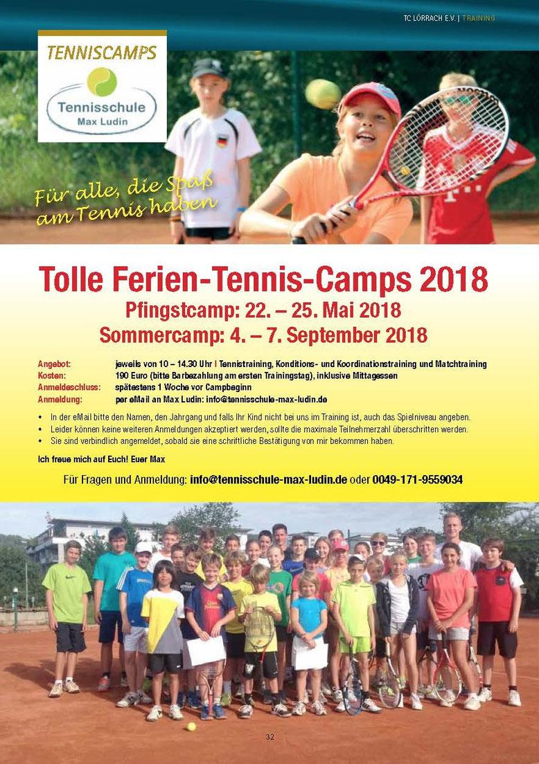 Auschreibung Tenniscamps und Tennisreise der Tennisschule Max Ludin in Lörrach