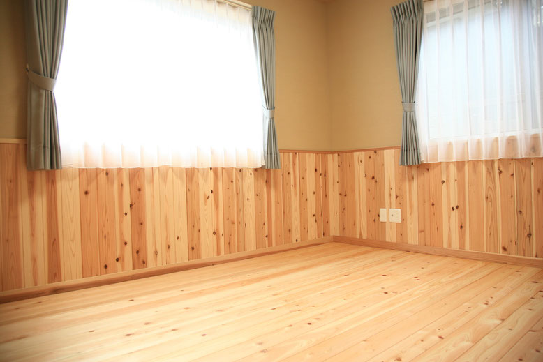 自然素材あふれる寝室