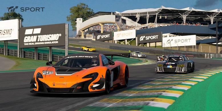 Die Rennstrecke Interlagos rückt im neuen Trailer zu Gran Turismo Sport für PS4 in den Vordergrund. Bilderquelle: Sony