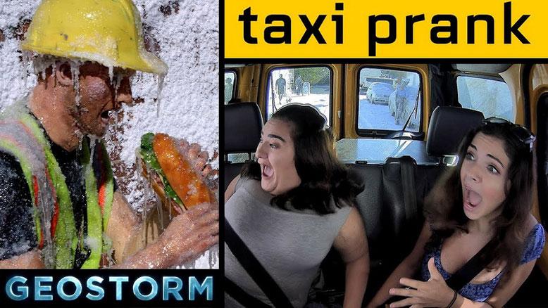 Im Taxi Prank Video zu Geostorm mit deutschen Untertiteln nimmt Warner Bros. die zwei New Yorkerinnen auf den Arm.
