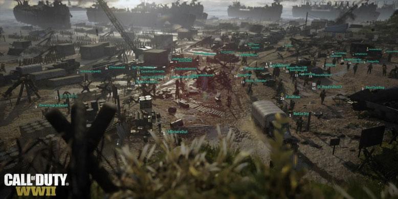 Ein neuer Gamescom-Trailer zu Call of Duty WW2 stellt uns das Hauptquartier für bis zu 48 Spieler vor. Bild: Activision