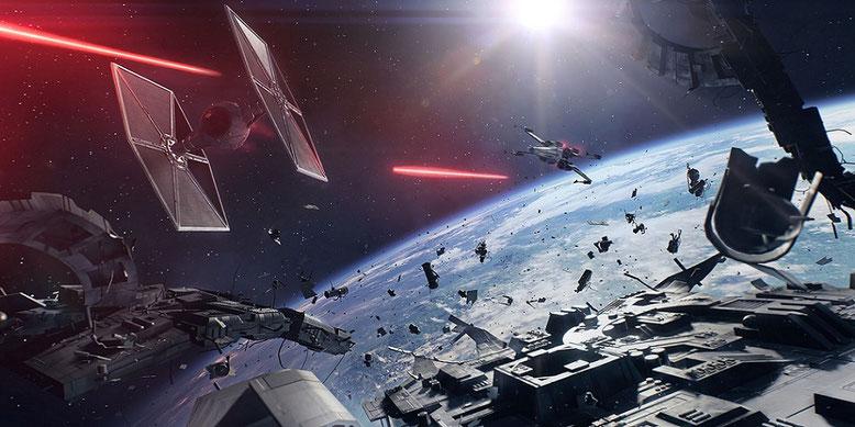 Der offizielle gamescom-Trailer mit Gameplay zu den Weltraumkämpfen von Star Wars Battlefront 2 wurde geleaked. Bild: EA