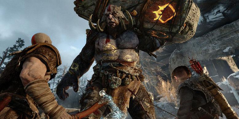Der Singleplayer-Titel God of War für PlayStation 4 wartet mit einer Spielzeit von 25-35 Stunden auf, wie Cory Barlog von den Santa Monica Studios auf der PlayStation Experience enthüllt hat. Bilderquelle: Sony Interactive Entertainment