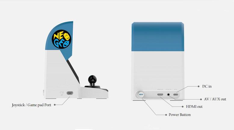 Die Anschlüsse des Neo Geo Mini von SNK im Blickpunkt. Die neue Spielekonsole kommt mit einem separaten Joypad-Anschluss und HDMI-Ausgang daher. Letzteres dient dazu, die Mini-Arcade-Konsole an den Fernseher anzuschließen. Bilderquelle: YouTube/Spawn Wave