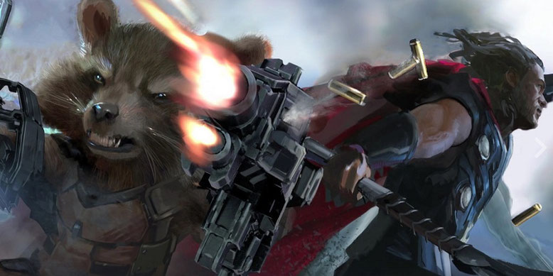 Rocket Raccoon und Thor kämpfen Seite an Seite in The Avengers 3: Infinity War. Bilderquelle: Marvel Entertainment/YouTube