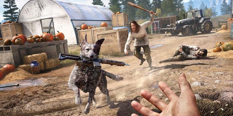 Der Hund Boomer spielt in dem kommenden Ego-Shooter Far Cry 5 eine zentrale Rolle. Bilderquelle: Ubisoft Montreal