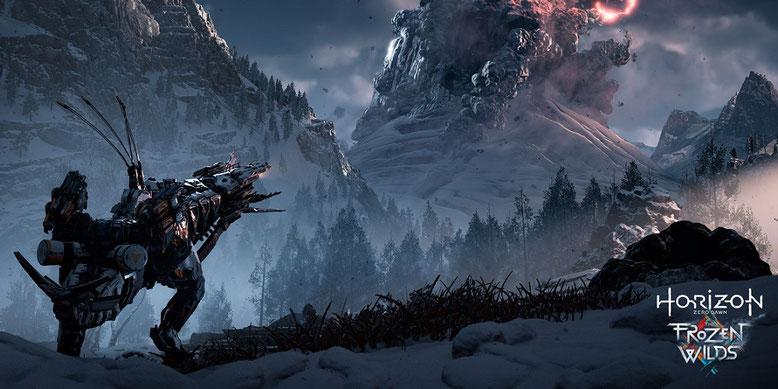 Mit dem DLC The Frozen Wilds für Horizon Zero Dawn erwartet Aloy eine eisige Welt. Bild: Sony Interactive Entertainment