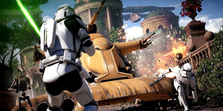 Die Gameplay-Premiere zu Star Wars Battlefront 2 hält beeindruckende Spielzenen bereit. Bilderquelle: Electronic Arts