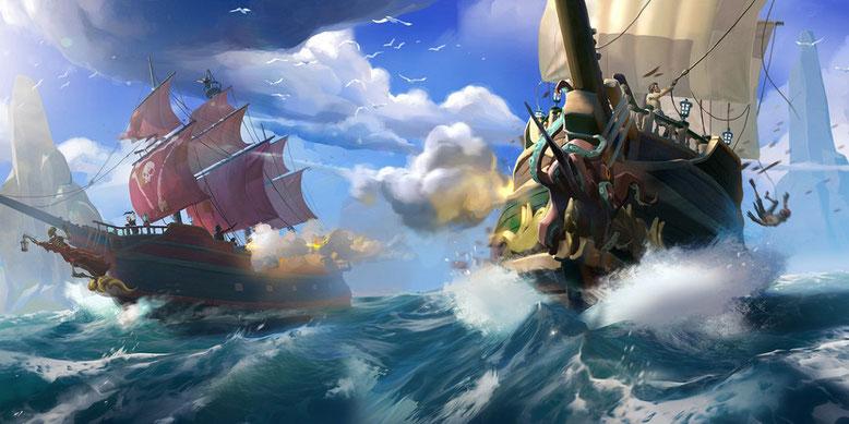 Das Piratenabenteuer Sea of Thieves zeigt sich im neuen Gameplay-Video in 4K-Auflösung. Bilderquelle: Microsoft