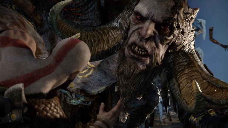 """Ein neues Gameplay-Video zu God of War für PS4 legt uns anhand einer Demo die """"ungewöhnlichen Erkundungselemente"""" des Action-Adventures und einen Boss-Kampf gegen einen Troll ans Herz. Bilderquelle: Sony Interactive Entertainment"""