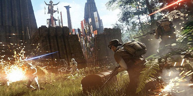 Gameplay aus der Beta von Star Wars Battlefront 2 mit der Map Takodana im neuen Video enthüllt. Bilderquelle: EA