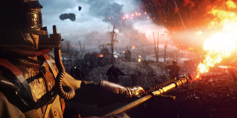 Flammenwerfer-Action zu Battlefield 1 im Gamescom-Video. Bilderquelle: EA/Dice