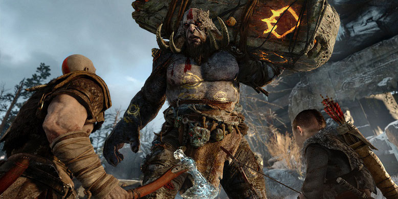 God of War für PS4 ist auf der E3 2017 in Los Angeles vertreten, wie eine riesige Werbewand zeigt. Bilderquelle: Sony