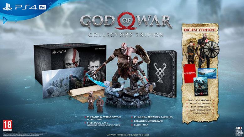 Die Collector´s Edition von God of War für PS4 enthält unter anderem eine 23 Zentimeter große Statue von Kratos und Atreus. Bilderquelle: Sony Computer Entertainment