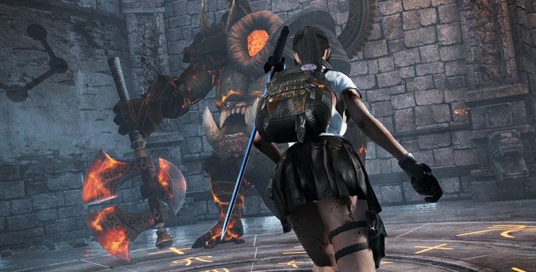 Im Bosskampf von Bright Memory bekommt es Shelia mit einem Axt schwingenden Widersacher zu tun. Bild: FYQD Studio