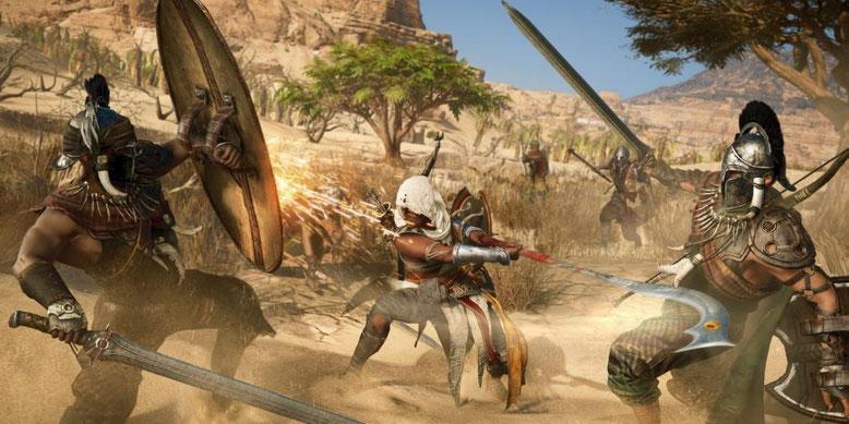 Das neue Kampfsystem in Assassin's Creed Origins zeigt sich im frischen E3-Gameplay-Video. Bilderquelle: Ubisoft
