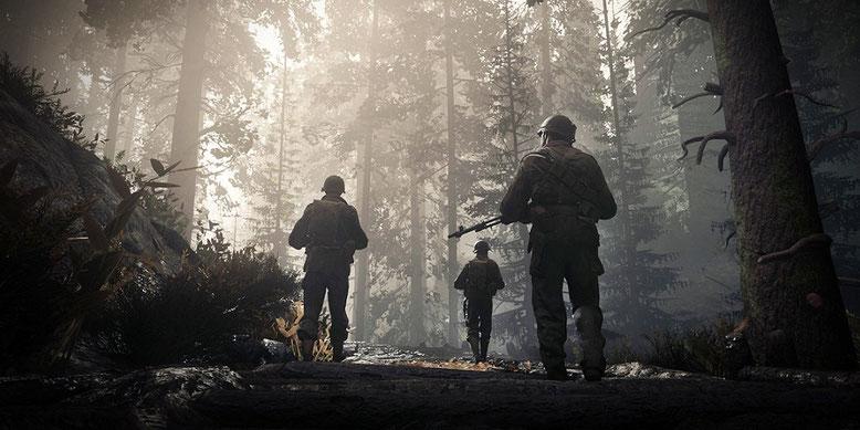 Ein neuer Screenshot zu Call of Duty WW2 zeigt drei Mitglieder der 1st Infantry Division. Bilderquelle: Activision