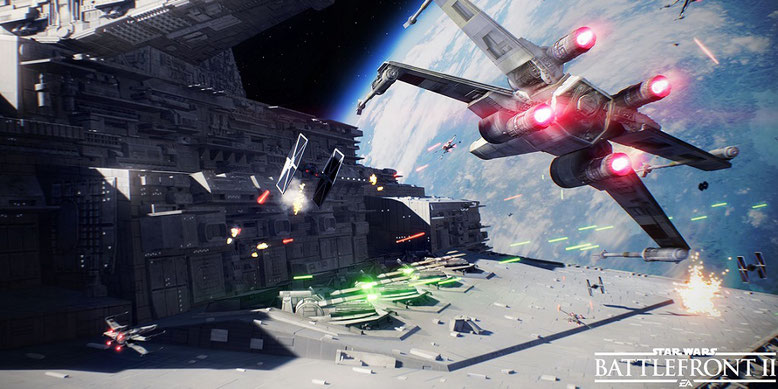 """Im gamescom-Livestream zu Star Wars Battleferont 2 kommen Weltraumkämpfe auf der Karte """"Fondor: Imperiale Werft"""" zum Einsatz. Bilderquelle: ElectronicArts"""