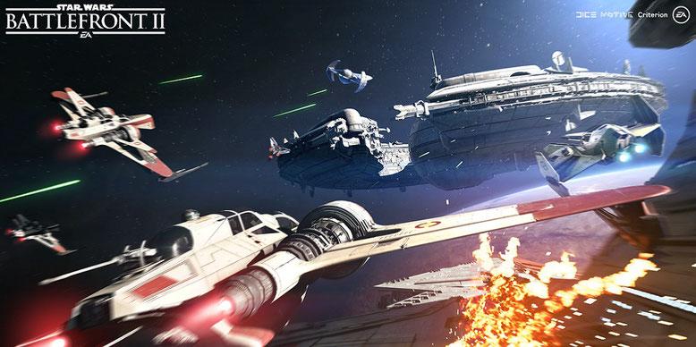 Im neuen Gameplay-Video der Gamescom 2017 rücken die Weltraumkämpfe von Battlefront 2 in den Fokus. Bilderquelle: EA