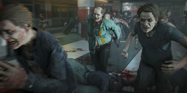 In dem Actionspiel World War Z kämpft ihr wie im Kinofilm mit Brad Pitt gegen riesige Gegnerwellen von Zombies an. Bilderquelle: Saber Interactive