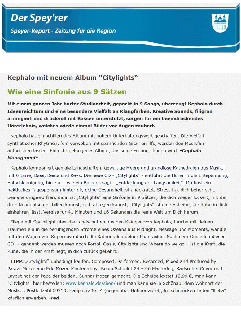 Speyer-Report, Citylights, Kephalo, Gitarren, Instrumentalmusik, Filmmusik