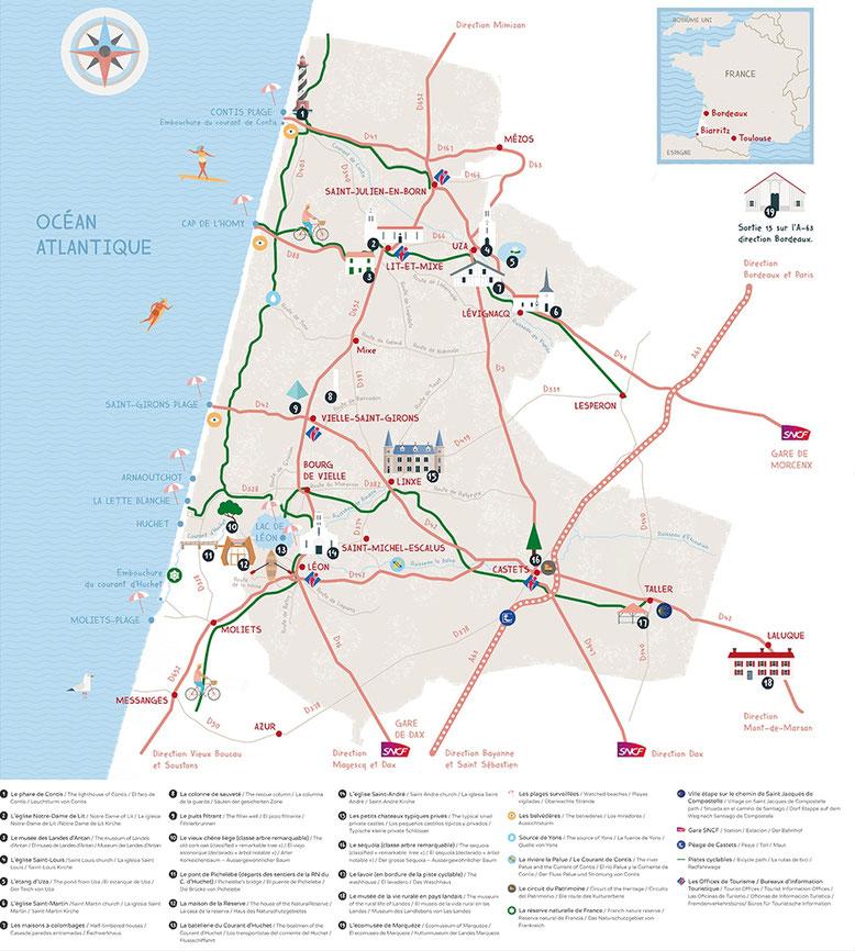 mapas de las playas y municipios de Las Landas 40 alrededor del Dominio Bella Epoca.