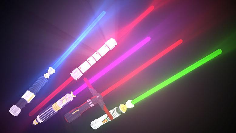 All 3D Lightsabers: including Luke, Darth Maul, Mace Windu, Kylo Ren and Obi Wan