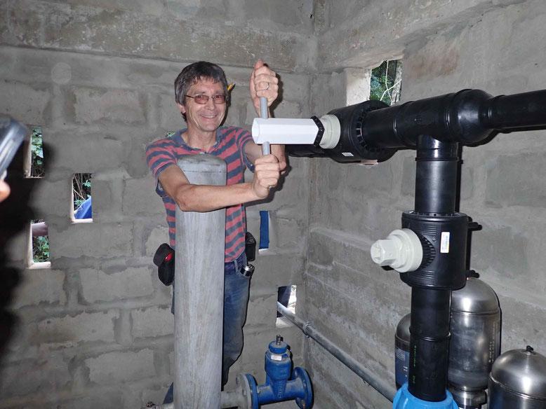 Start der Wasserzufuhr zur Widderpumpe