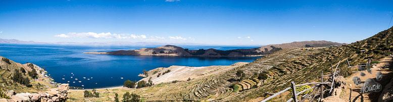 Blick auf den Titicaca-See von der Isla del Sol