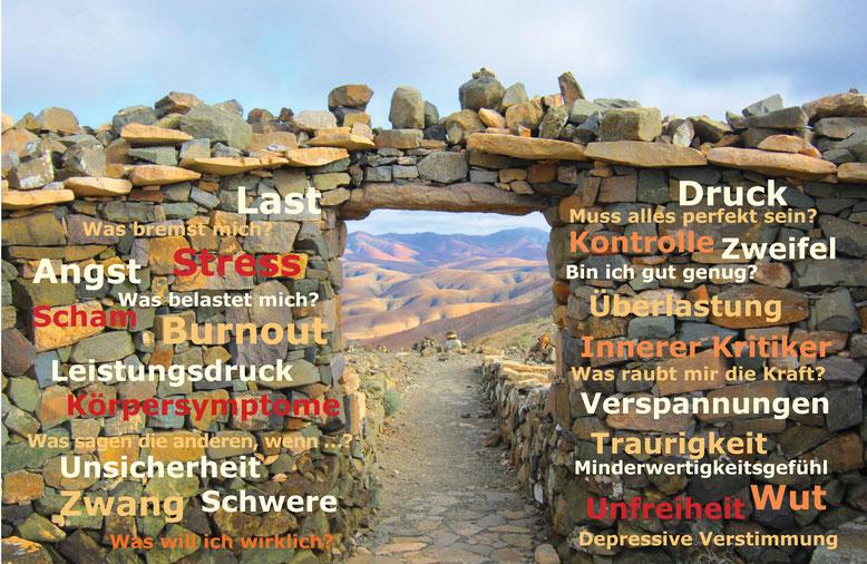 Stress, Überlastung, Burnout, Angst, Minderwertigkeitsgefühl, Zweifel, Unsicherheit, Traurigkeit, Druck, Schwere, Körpersymptome, Verspannungen, Last, Zwang, Kontrolle, Wut, Scham, Depressive Verstimmung, Innerer Kritiker, Unfreiheit, Leistungsdruck, Wert