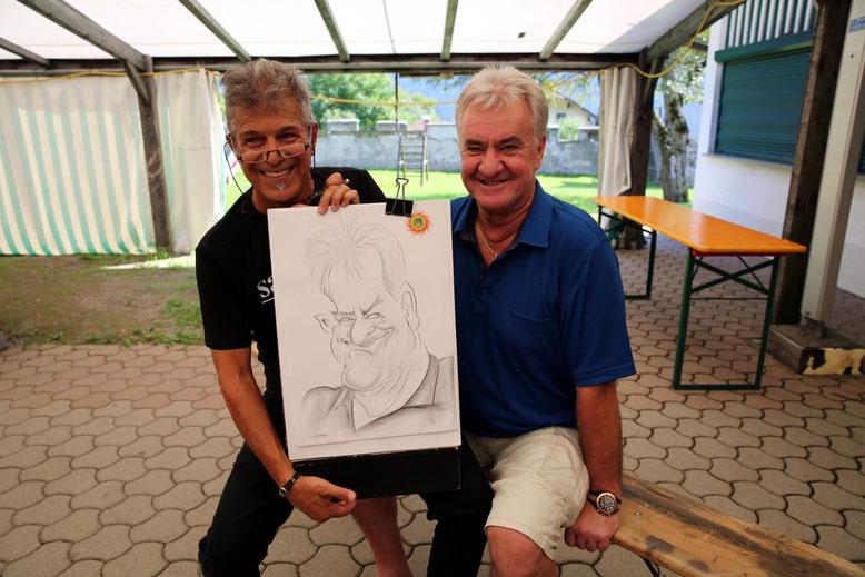 Sepp Scheiflinger mit dem großartigen Karikaturisten Maestro Sami Al-Deek