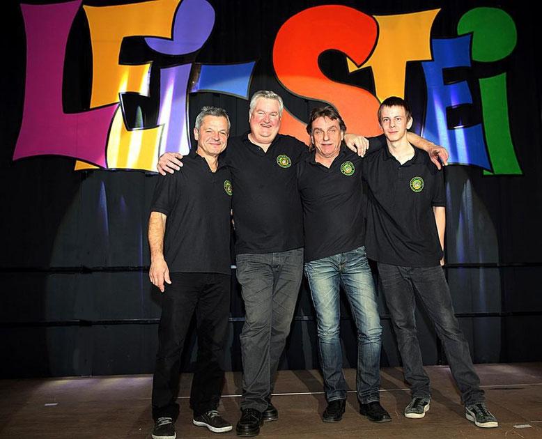 das Technik-Team mit Sepp Safrin, Alfred Wankmüller, Albert Burtscher, Robin Granditsch