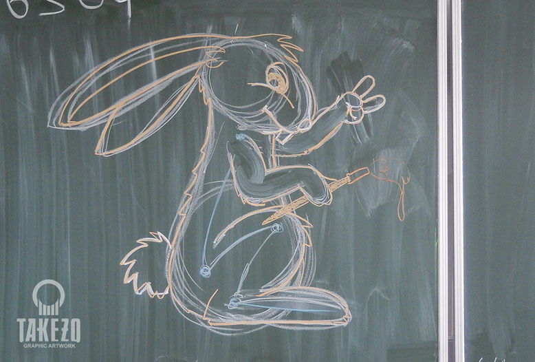 Tafelbild Hase Comic-Kurs