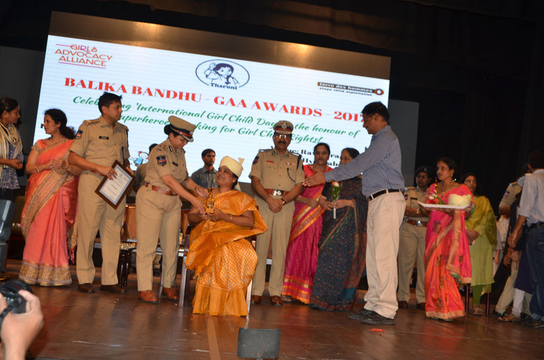"""Balika Bandhu Girls Advocacy Alliance (GAA)  Awards 2017"" by the hands of  Smt.Swathi Lakra,IPS and Shri.Mahender Reddy,IPS on the occasion of International Girl Child Day-2017 org in Hyderabad."