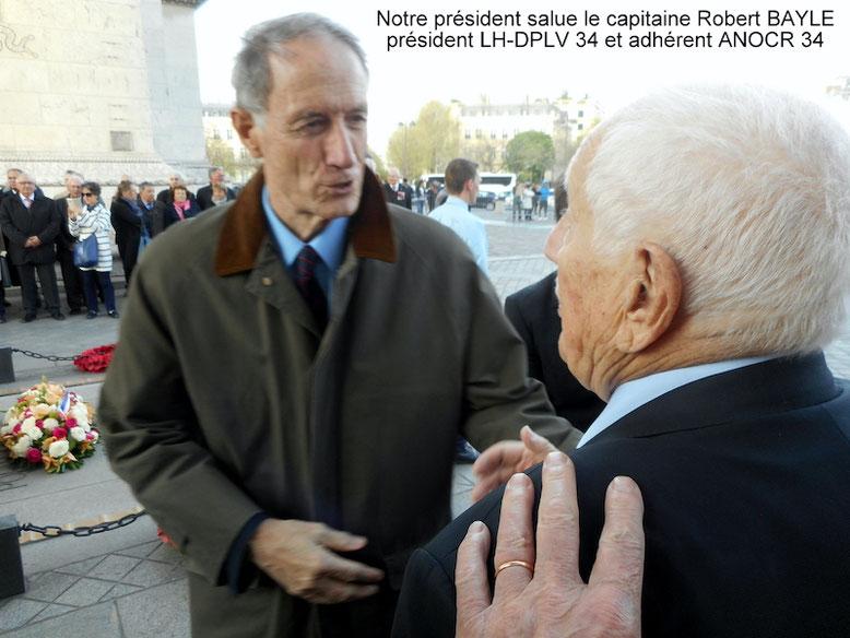 Michel OLAGHARAY président de l'ANOCR et Robert BAYLE anocr34.fr