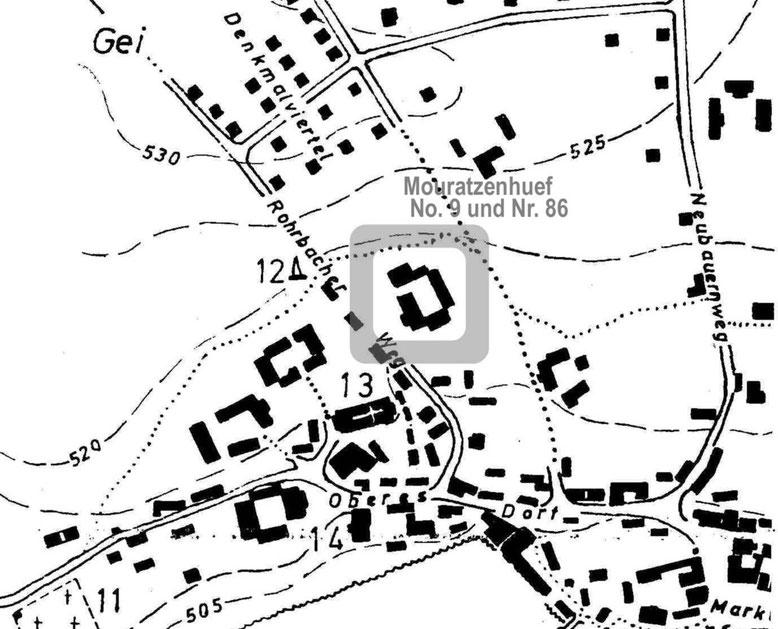 Lageplan-Ausschnitt Fleißen-West mit Stübiger Stammsitz