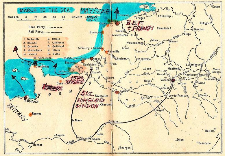 Von St. Malo und Le Havre: Flucht der Pioneers und der 154. Brigade der Highland Division.