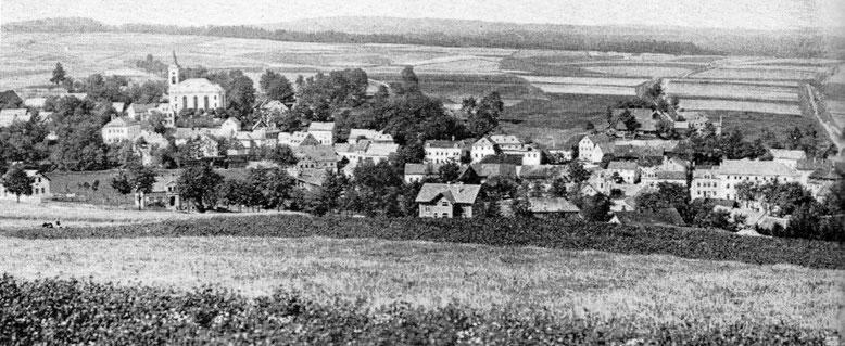 Fleißen, 1898, Westteil mit Evangelischer Kirche, Ansicht vom Galgenberg